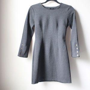 Olivaceous Dark Gray Long Sleeve Dress